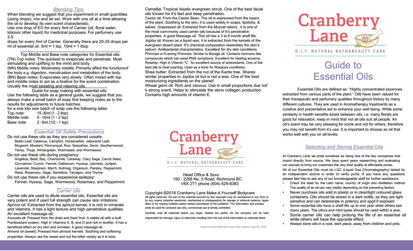 Cranberry Lane's Essential Oil Guide